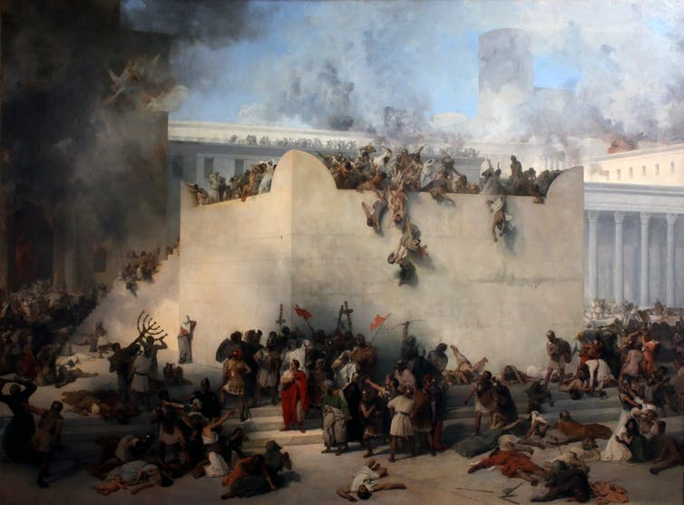 Painting showing the destruction of the Jerusalem