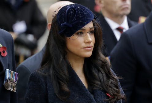 Meghan, the Duchess of Sussex, is seen at a Remembrance Day ceremony.