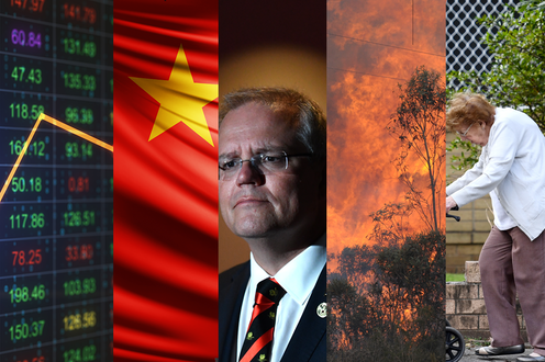 A collage featuring a stock market listing, the Chinese flag, a bushfire, Scott Morrison, and an elderly lady