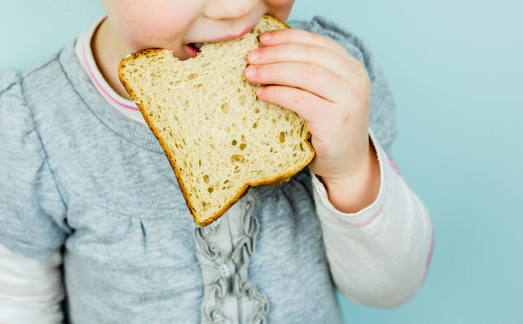 Child eating a slice of white bread.