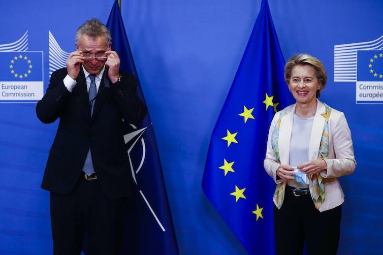 NATO secretary general Jens Stoltenberg and European Commission president Ursula von der Leyen.