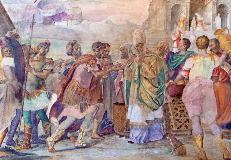 A mural of King David