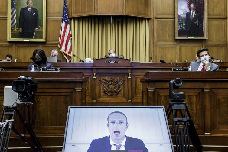 Facebook CEO Mark Zuckerberg speaks via video conference during a House Judiciary subcommittee hearing on antitrust in Washington on July 29, 2020.