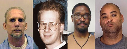 Four portraits of men who were executed in 2020.