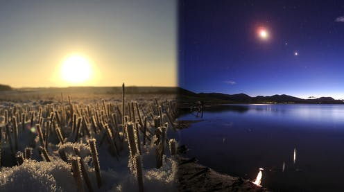 Two images, one of the sun on winter solstice, and the other of the great conjunction