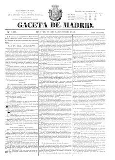 La Gaceta de Madrid del 28 de agosto de 1838 que publica la Ley de Primera Enseñanza.