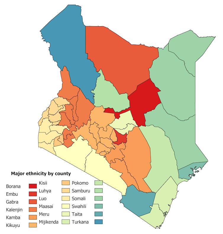 Mapa regional de Kenia resaltando las principales etnias por condado.