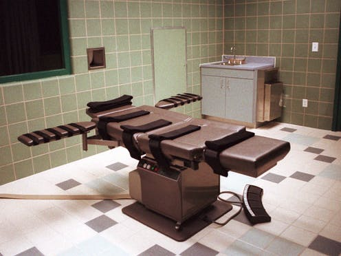 The federal death chamber at the U.S. Penitentiary in Terre Haute, Indiana.