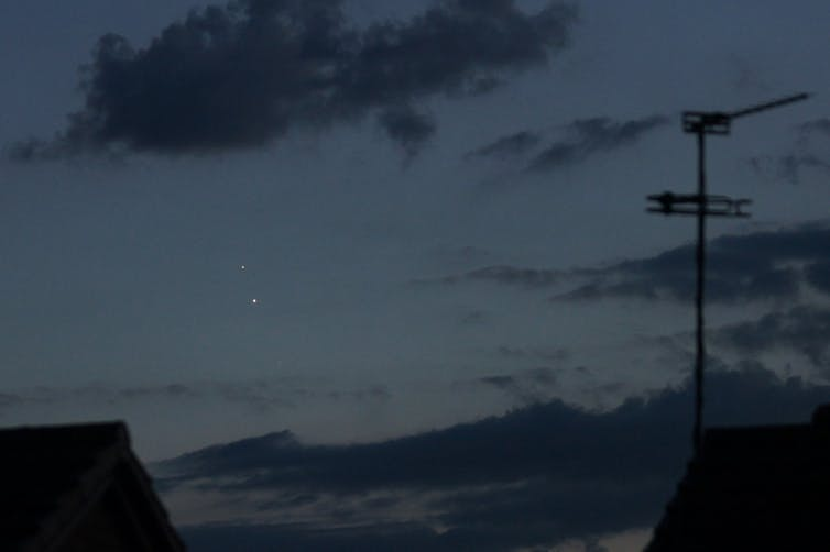 Night sky with two bright planets.