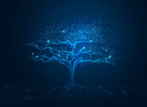3D rendering of a tree lit up