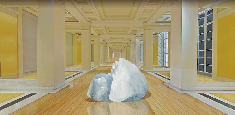 An iceberg exhibit in an empty gallery.