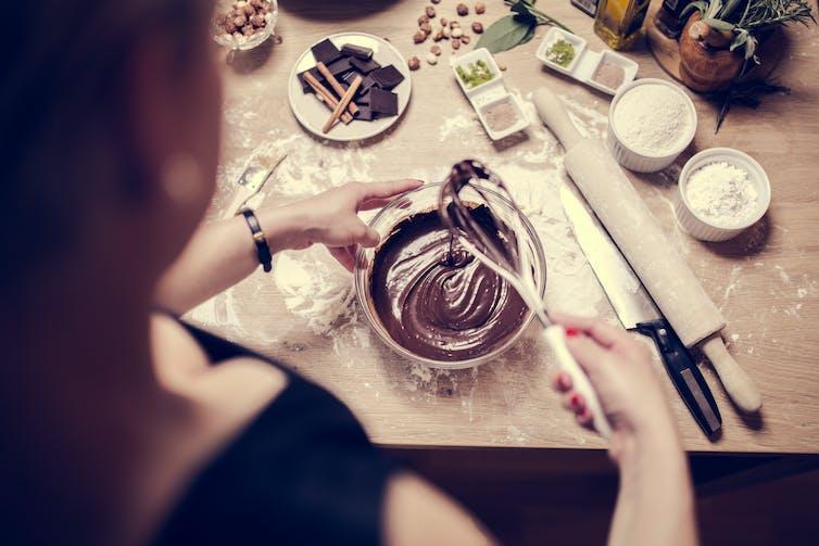 Woman preparing chocolate dessert