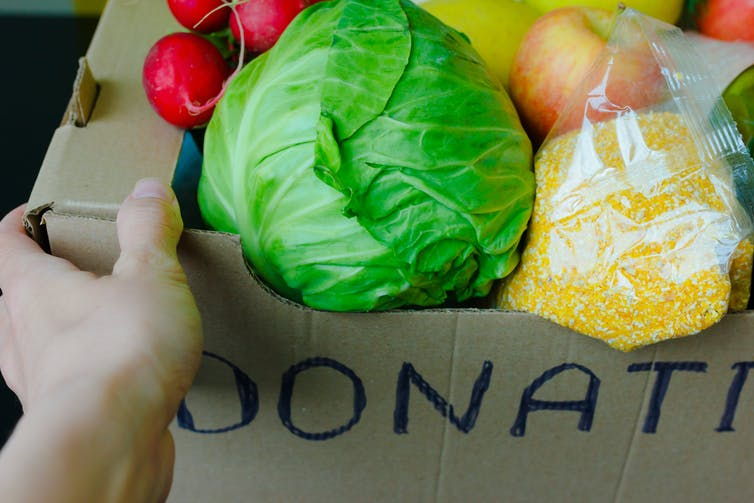 Support Food Banks During Coronavirus. COVID-19 Relief Funds and Donations. Volunteer in the Protective Medical Mask and Hand Gloves Holding Food Donation Box. Charity donations