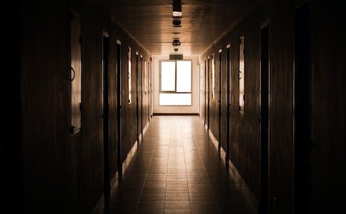 A school hallway.