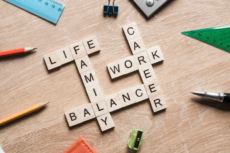 Scrabble tiles spell out linked words 'life', 'work', 'balance', 'family' and 'career'.