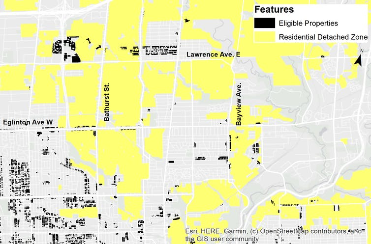 Map of Toronto showing lots eligible for laneway housing