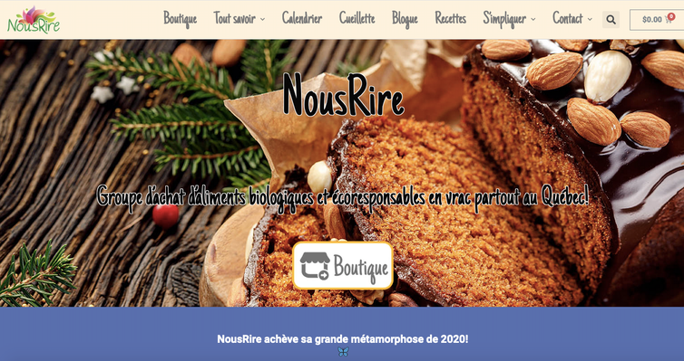 The NousRire homepage.