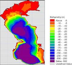 Map of Caspian Sea depth.