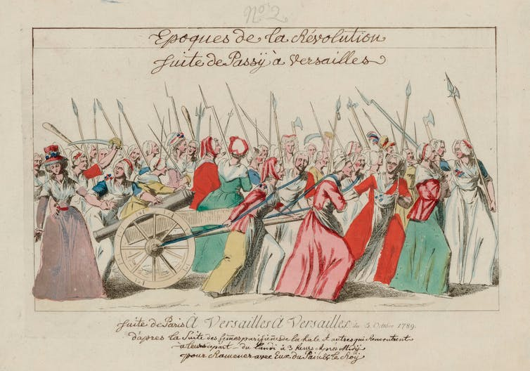 A contemporary illustration of a French food riot in 1789.