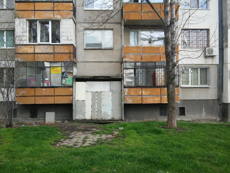 A boarded up block of flats in Bulgaria.