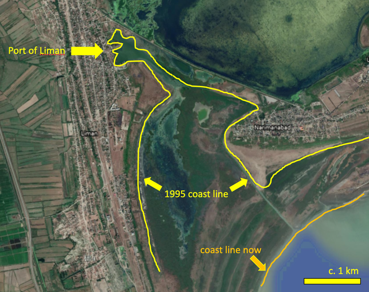 Map showing coastline in Liman, Azerbaijan, in 1995 and today.