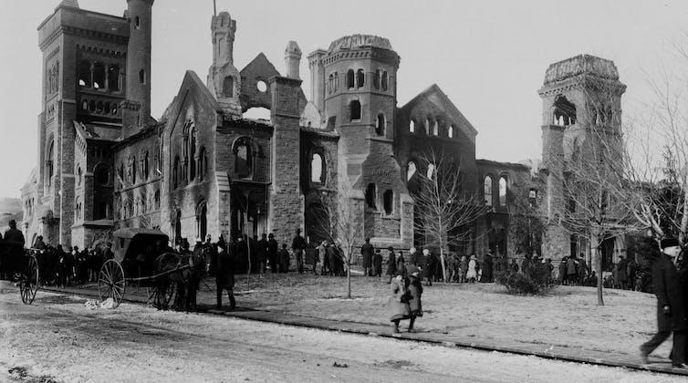 A campus after a fire.