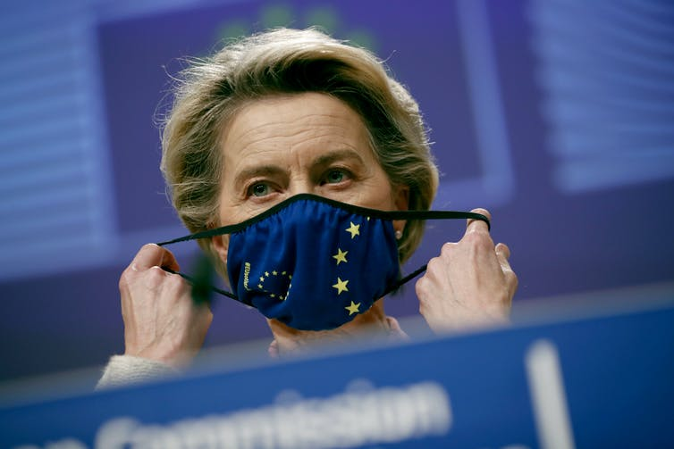Ursula von der Leyen in a mask.