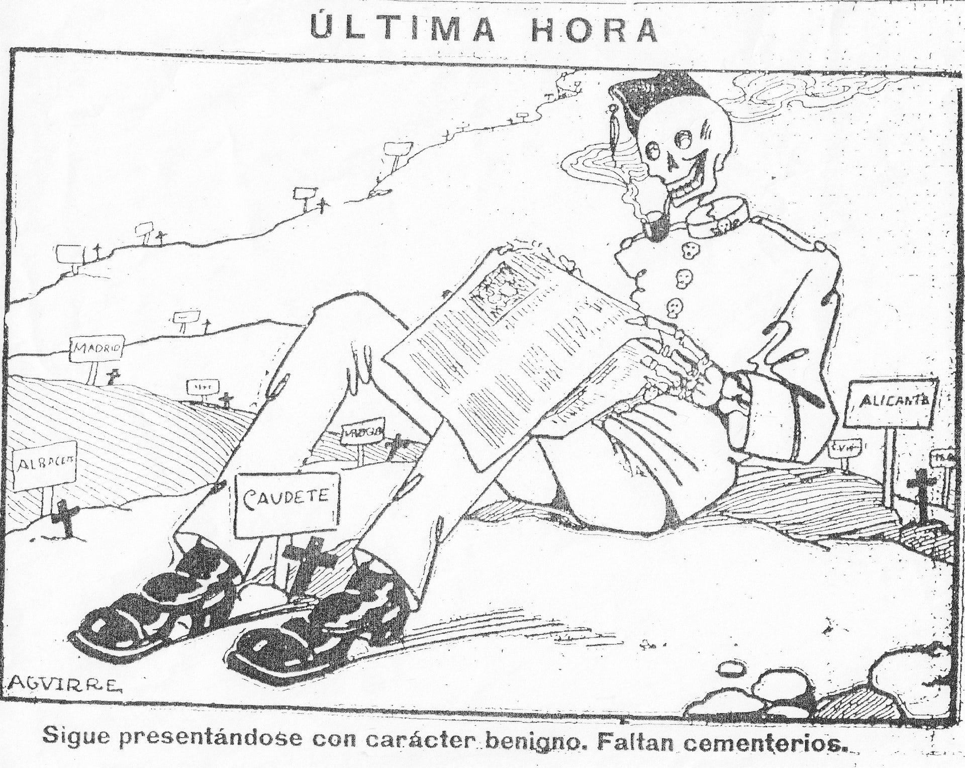 Viñeta de Lorenzo Aguirre publicada en El Fígaro el 25 de septiembre de 1918 que hace referencia al Soldado de Nápoles, nombre dado inicialmente a la enfermedad por ser tan pegadiza como la partitura de canción del mismo nombre perteneciente a la zarzuelaLa canción del olvido(Sarachaga, Fernández-Shaw Iturralde y Serrano, 1916) .Wikimedia Commons / El Fígaro