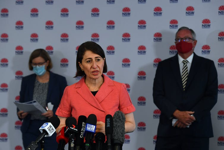 NSW Premier Gladys Berejiklian addresses the media.