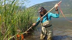 A woman kicking muddy water into a net