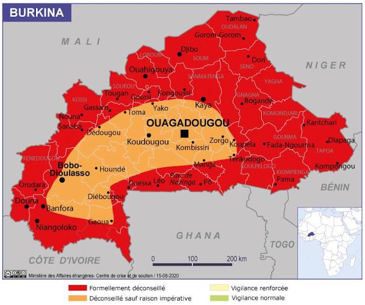 la page consacrée au Burkina Faso de la section «Conseils aux voyageurs» du ministère des Affaires étrangères