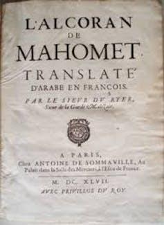 La première traduction du Coran en français par André Du Ryer. Wikimedia