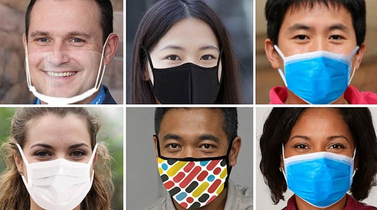 Six different images show various people wearing masks of varying colors, including one without a mask.