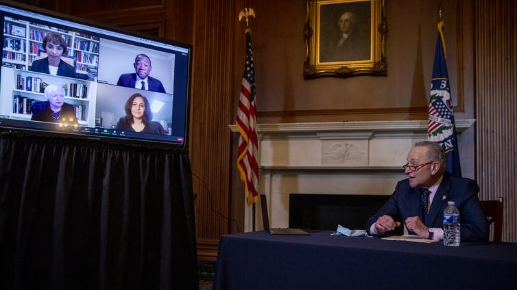 US Senate Minority leader Chuck Schumer in a video conference with Joe Biden's economic nominees.