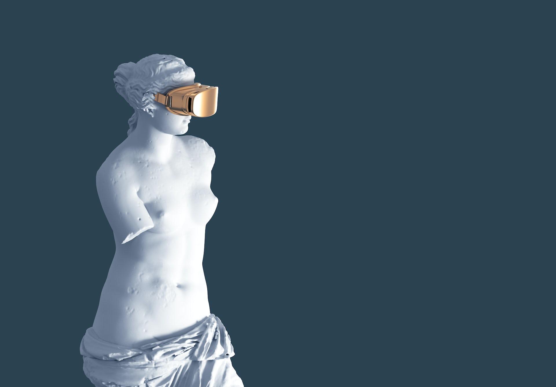 Escultura con gafas de realidad virtual