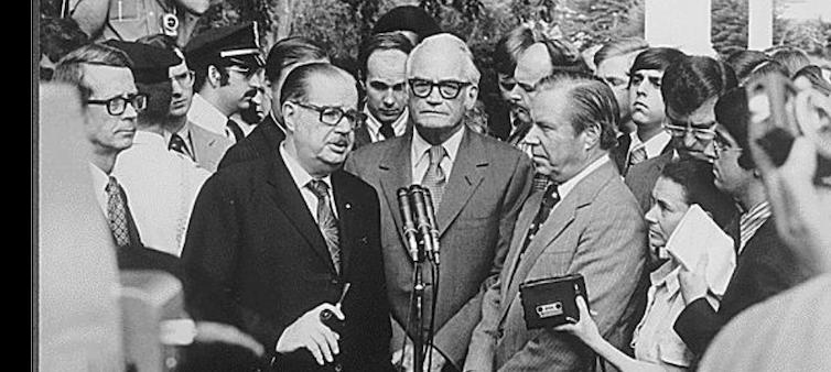 Senate Minority Leader Hugh Scott, Arizona Sen. Barry Goldwater and John Rhodes of Arizona, the House minority leader