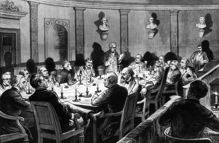 Black and white drawing of men around a table