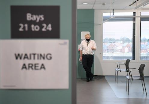 Boris Johnson visiting a hospital.