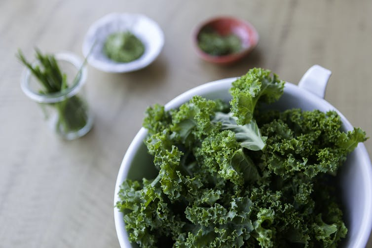 A plate of kale salad.