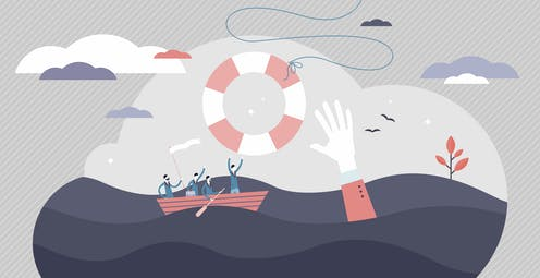 Illustration of people in a row boat and someone reaching for a life preserver