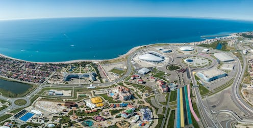 A panoramic shot of the Olympic Park in Sochi, Russia