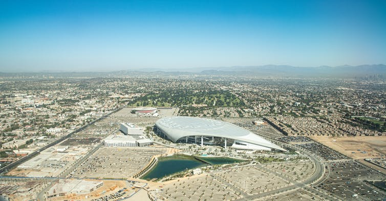 An aerial shot of SoFi stadium