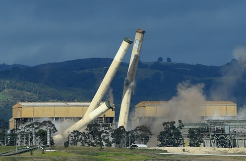 Demolition of Hazelwood power station chimney stacks.