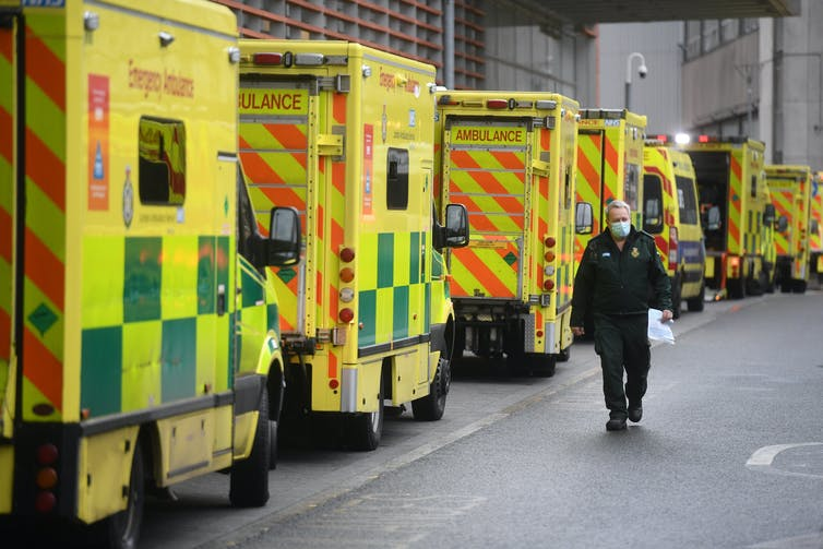 Arriving ambulances queuing outside of the emergency department at a London hospital