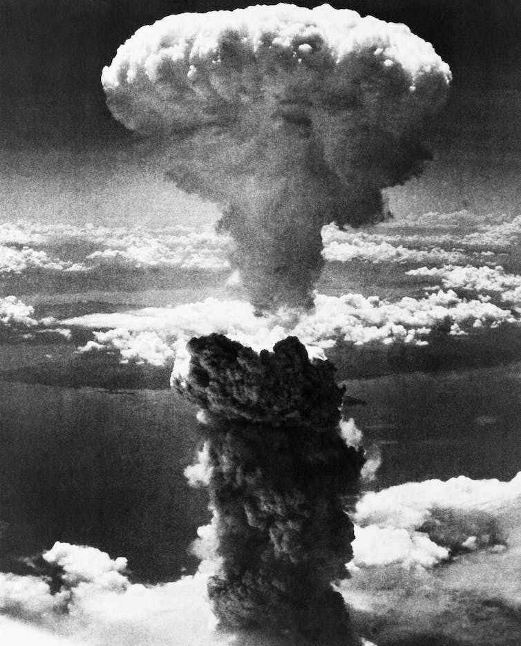 A photo of the atomic bomb that was dropped on Nagasaki by the United States in 1945.