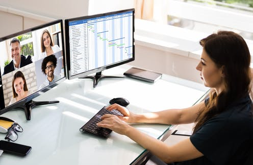 women in teleconference while working from home