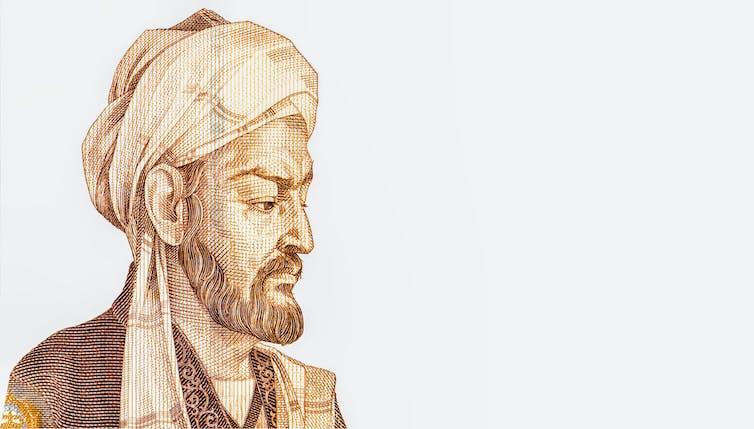 Ibn Sina cutout from a Tajikistan banknote.