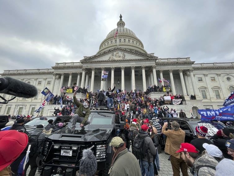 Hundreds of Trump supporters stormed the Capitol