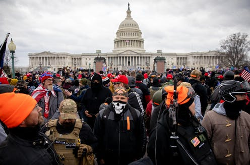 The Proud Boys outside the US Capitol in Washington, DC on Wednesday, January 6, 2021.