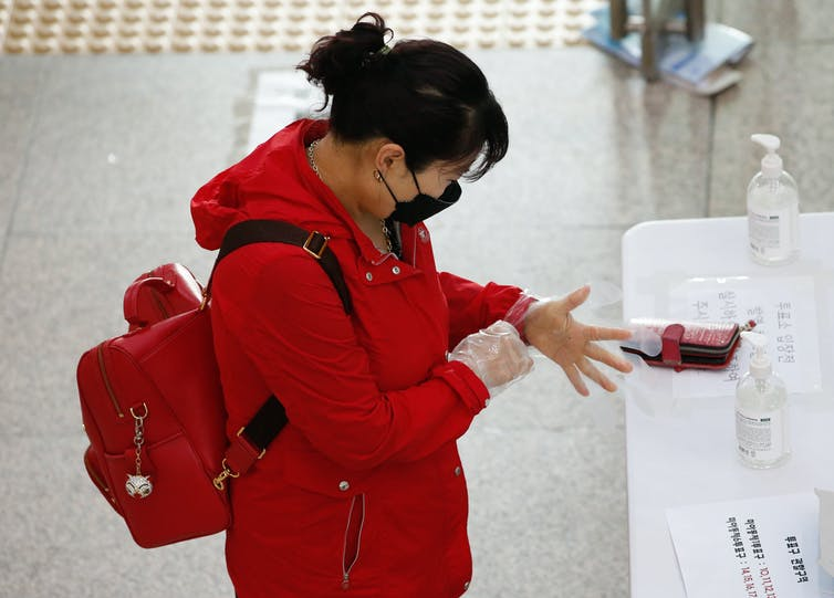 A woman at a polling station putting on plastic gloves to protect her from the coronavirus while she votes.